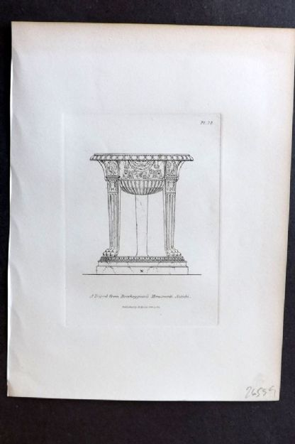 Moses 1840's Antique Print. A Tripod from Roccheggianis Monumenti Antichi 74
